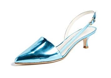 TIBI 'SIMON' METALLIC BLUE SLING BACK PUMP