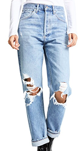 AGOLDE HIGH WAISTED LOOSE RIPPED JEANS