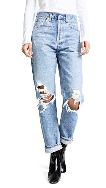 AGOLDE HIGH WAISTED RIPPED BAGGY JEANS