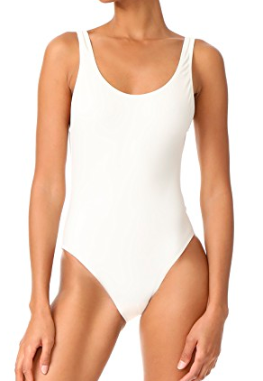 SOLID AND STRIPED WHITE ONE PIECE