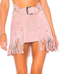 Understated Leather x Revolve Fringe Pink Studded Skirt