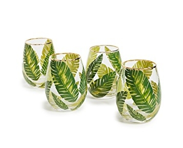 Gift Boutique Leaf Stemless Wine Glasses