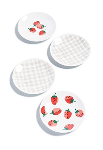 Kate Spade Strawberries & Gingham Tibit Plates