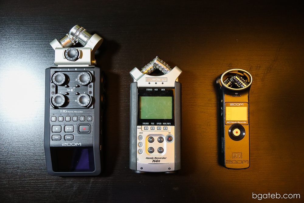 Size Comparison - Zoom H6, H4n and H1