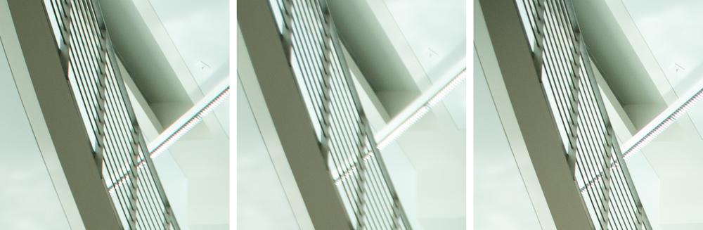 Indoor Extreme Corner Comparison @ 24mm, f/4: 11-24 f/4L (Left) vs 16-35 f/2.8L II (Center) vs 24-70 f/2.8L II (Right). (click to enlarge)