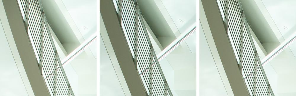 Indoor Extreme Corner Comparison @ 24mm, f/8: 11-24 f/4L (Left) vs 16-35 f/2.8L II (Center) vs 24-70 f/2.8L II (Right). (click to enlarge)