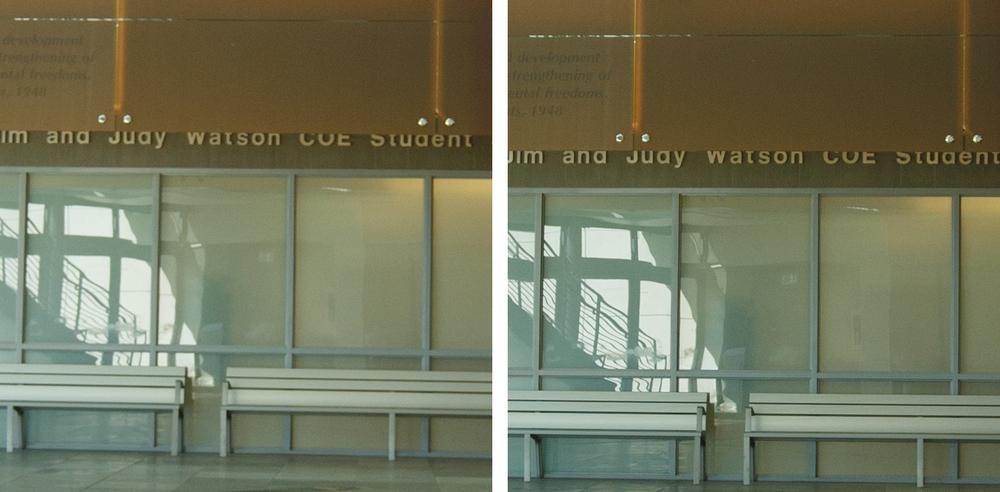Indoor Center Comparison @ f/4: 11-24 f/4L (Left) vs 16-35 f/2.8L II (Right). (click to enlarge)