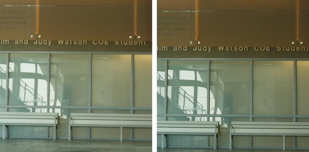 Indoor Center Comparison @ f/8: 11-24 f/4L (Left) vs 16-35 f/2.8L II (Right). (click to enlarge)