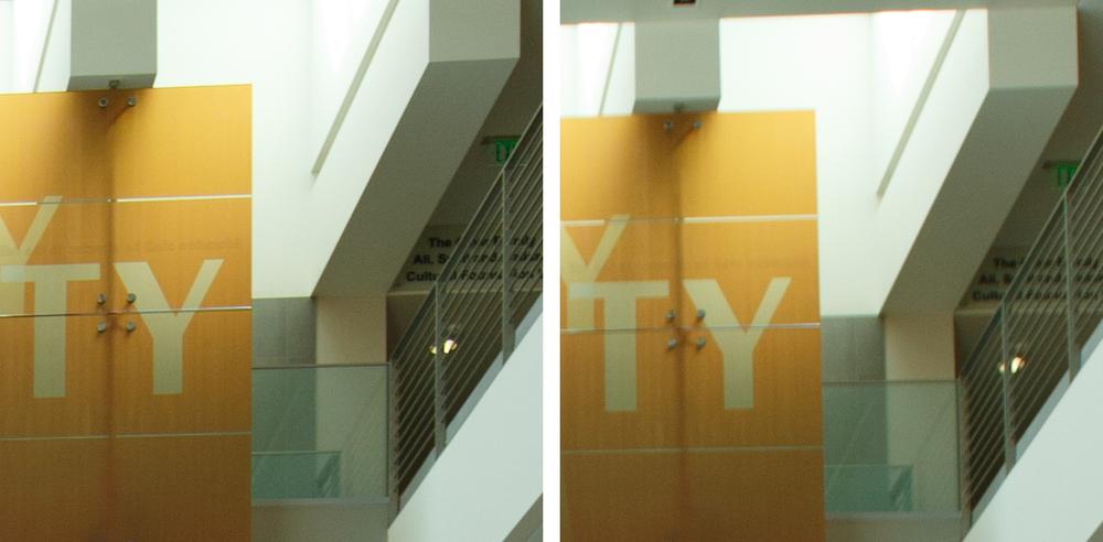 Indoor Corner Comparison @ f/4: 11-24 f/4L (Left) vs 16-35 f/2.8L II (Right). (click to enlarge)