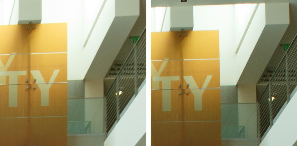 Indoor Corner Comparison @ f/8: 11-24 f/4L (Left) vs 16-35 f/2.8L II (Right). (click to enlarge)