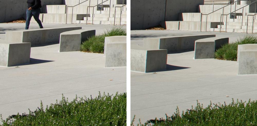 Corner Comparison @ f/8: 11-24 f/4L (Left) vs 16-35 f/2.8L II (Right)