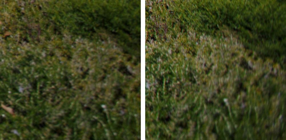Extreme Corner Comparison @ f/4: 11-24 f/4L (Left) vs 16-35 f/2.8L II (Right)