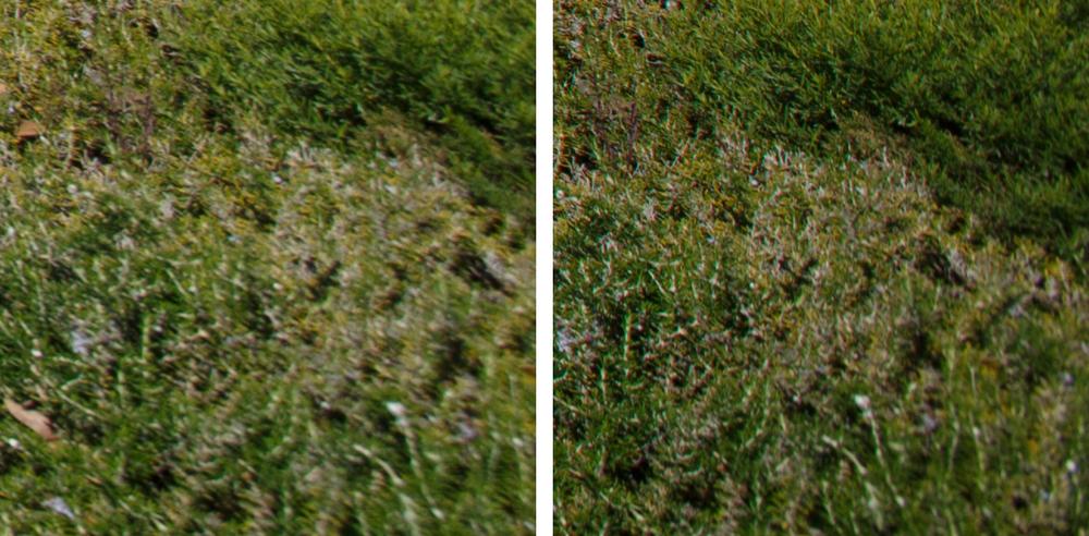 Extreme Corner Comparison @ f/8: 11-24 f/4L (Left) vs 16-35 f/2.8L II (Right)