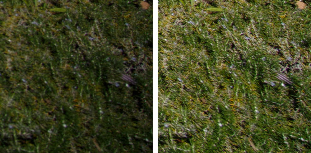 11-24L Extreme Corner Crops: f/4 (Left) and f/8 (Right). Sharpness improves slightly, and vignetting is reduced greatly.