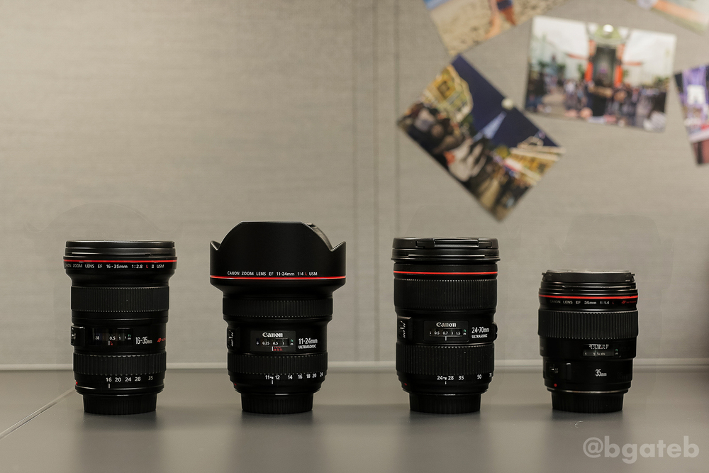 Left to Right: 16-25 f/2.8L II, 11-24 f/4L, 24-70 f/2.8L II, 35mm f/1.4L (all lenses have hoods OFF)