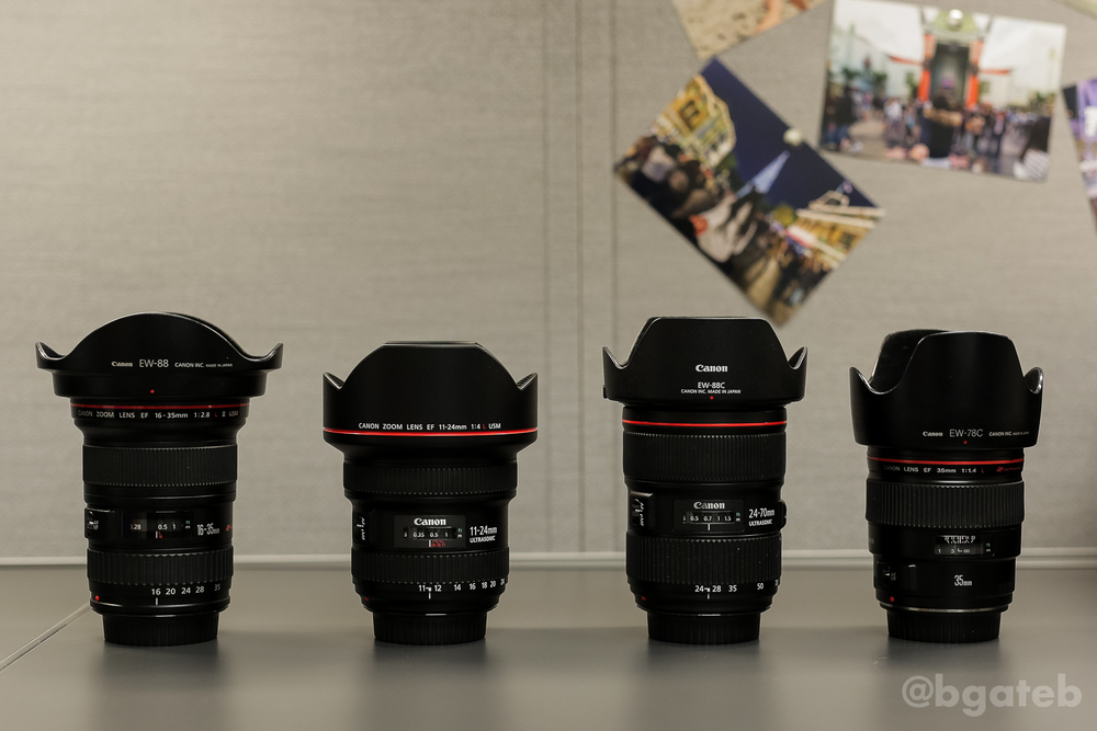 Left to Right: 16-35 f/2.8L II, 11-24 f/4L, 24-70 f/2.8L II, 35mm f/1.4L (All lenses have hoods ON)