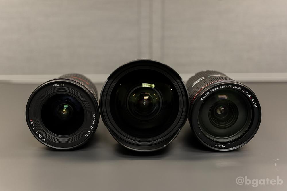Left to Right: 16-35 f/2.8L II, 11-24 f/4L, 24-70 f/2.8L II