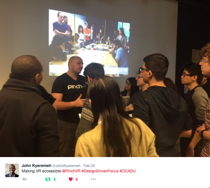 Here is Milan Baic, Founder of Pinch VR demonstrating our technology and speakinging with some of the bright minds of the Digital Futures program at OCAD.