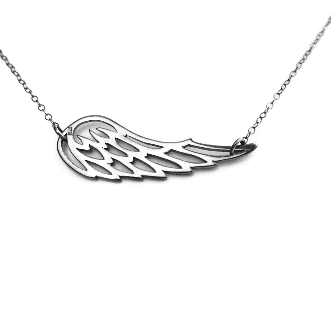 angel wing necklace silver mantra protection jewellery faith sterling