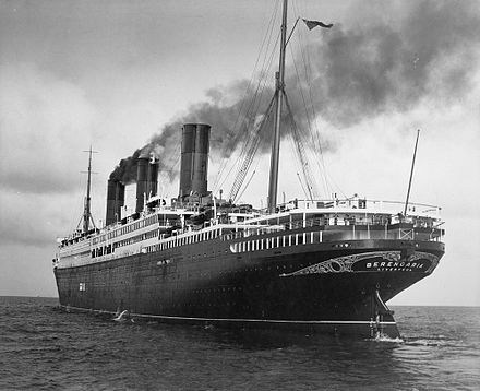 Imperator, repurposed as Cunard's flagship, Berengaria. Notice the exquisite gold scrollwork adorning her stern. Photo Credit: Wikimedia Commons.