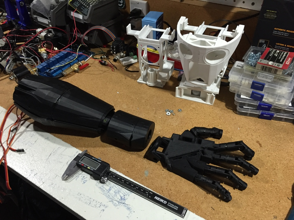 The almost complete Inmoov hand and forearm. The Inmoov's design uses 5 servos to control each finger and 2 more servos to rotate the wrist and hand. All those servos mean a lot of weight. Perhaps future versions I will convert these back to air muscles to save weight.