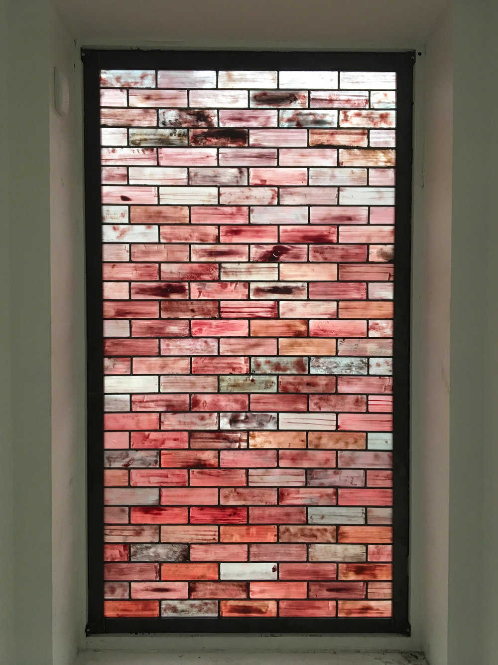 Brick   Window , 2017  Hand painted stained glass, lead, steel  78 x 43.5 in