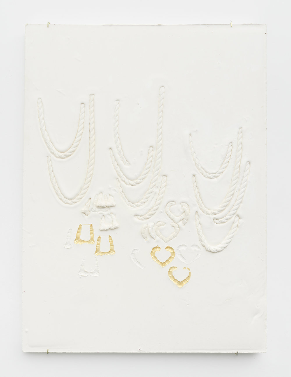 Composition with Rope Chains Overlapping Round Bamboo and Heart Earrings, Impressed with Gold  Plaster, foam and acrylic 46 x 34 x 3 inches, 116.84 x 86.36 x 7.62 cm 2019