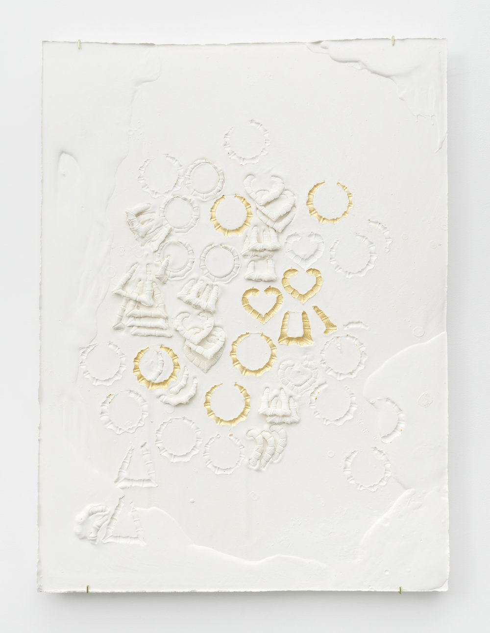 Composition with Round Heart and Triangle Bamboo Earrings, Impressed with Gold  Plaster, foam and acrylic 46 x 34 x 3 inches, 116.84 x 86.36 x 7.62 cm 2019