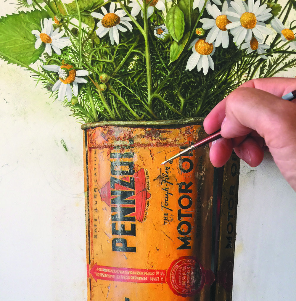 Pennzoil Can with Wildflowers (detail) - oil on panel