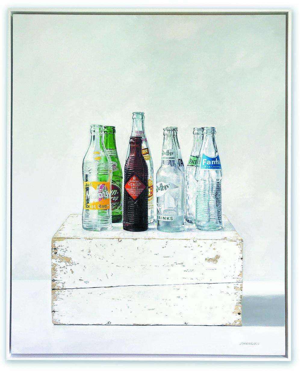 Soda Bottles - oil on panel