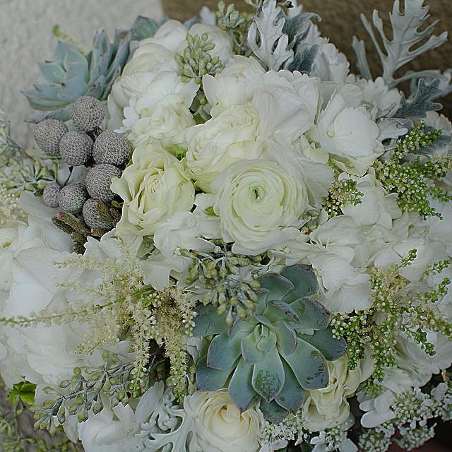 Winter Wedding Bouquet #bouquet #succulent #succulent bouquet #wedding florist #los angeles #white #modern vintage #junebloomfloral
