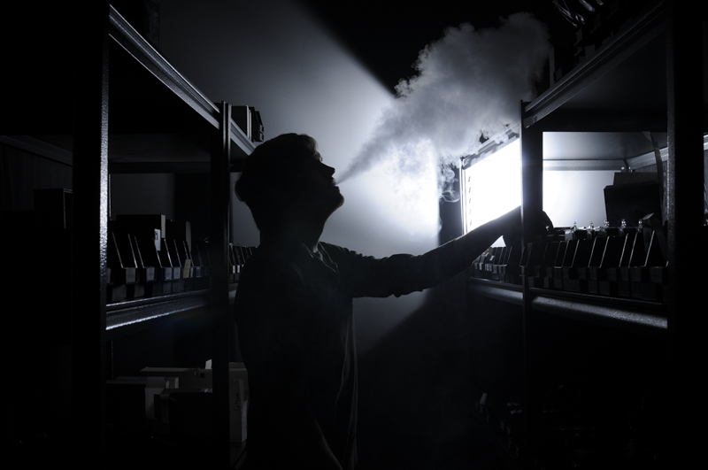 Ben Vickers, 23, has been working at a local vape shop for more than two years, and is now the manager of the establishment. The majority of his day consists of taking inventory, restocking shelves,and vaping.