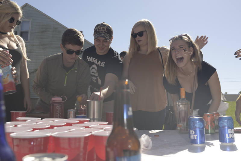 Lanie Mitchell argues with Jasmin Sledge (not pictured) about a play that happened during a game of Boom Cup at an MU Homecoming tailgate party on October 22, 2016.