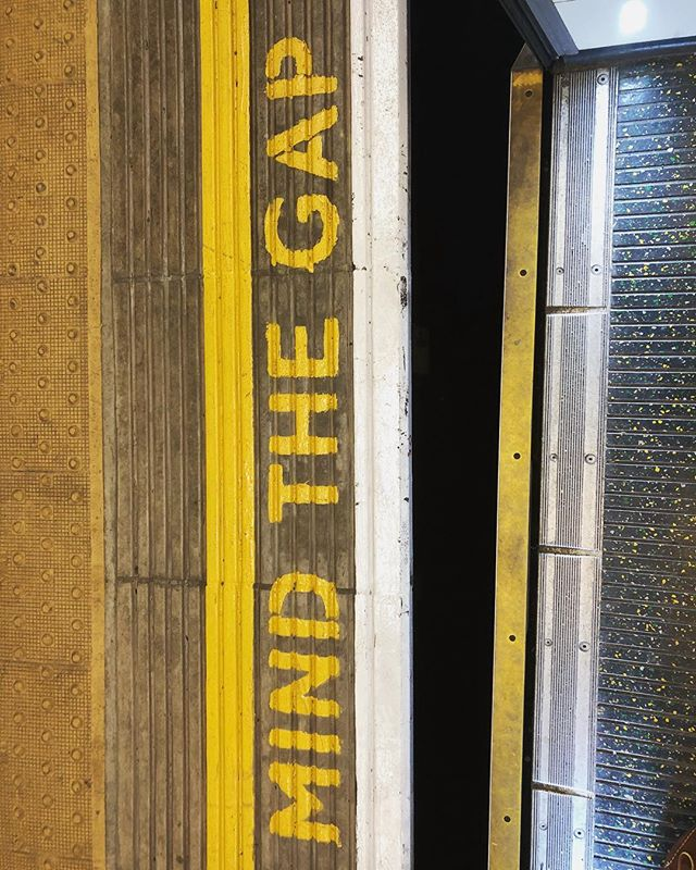 """""""Mind the gap between the train and the platform,"""" is stated before each train departs a station. It's plastered alongside the end of the platform for patrons to watch their step. #londonunderground #thetube #publictransportation #londontravel"""