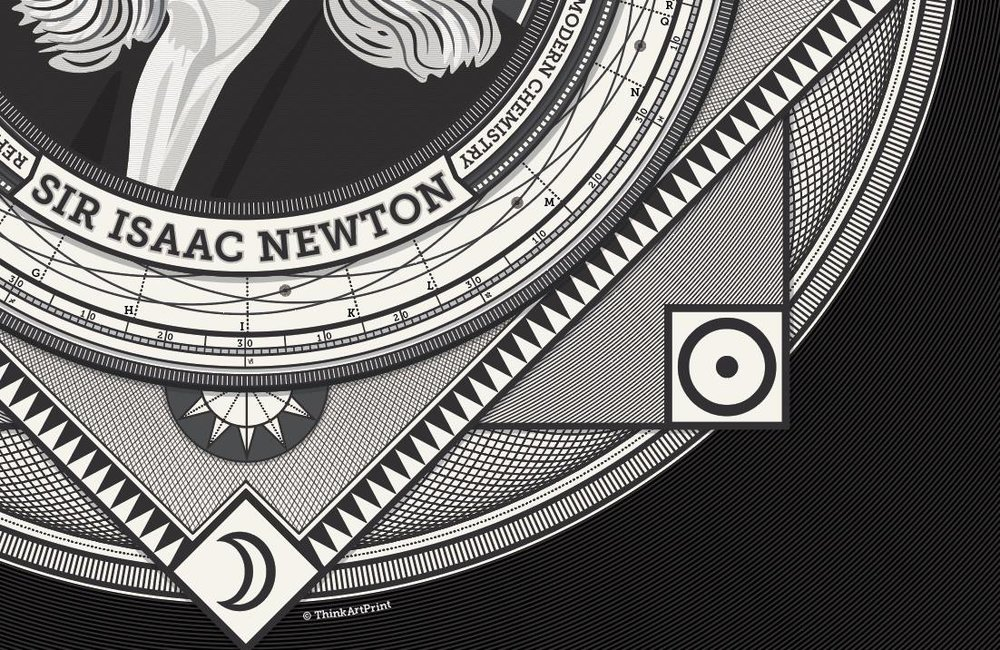 The print features astronomical and/or alchemical symbols Newton used for earth, sun/gold, and moon.