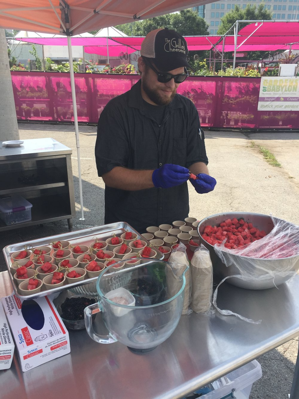 Production Chef Taylor, making  hundreds of samples on Watermelon Fest Day