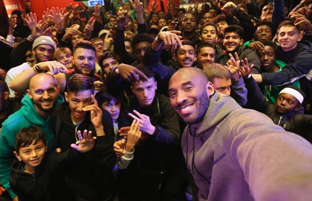 Kobe Bryant celebrating the start of the NBA at Niketown London