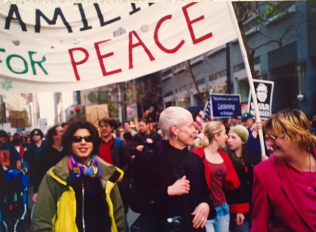 Loukia & Mary Alyce join a protest of the Iraq War, circa 2003.