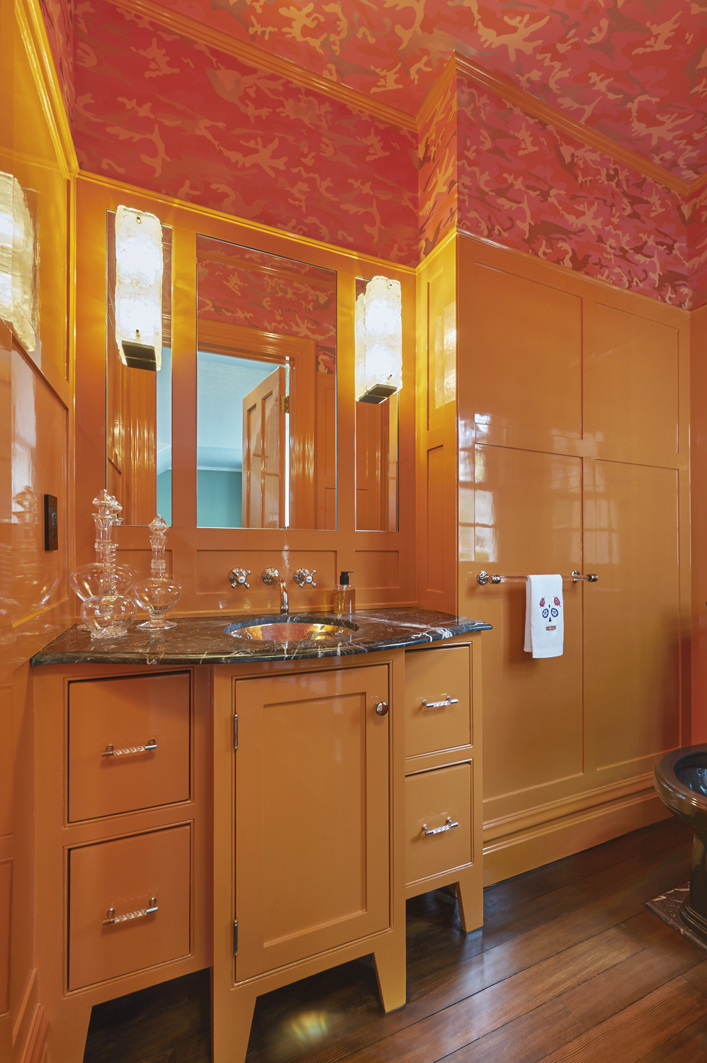 Hermes-orange-powder-room-riverside-ct-interior-w