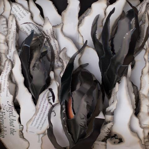 Evening Crocus, original paper art by Marilyn McRae.