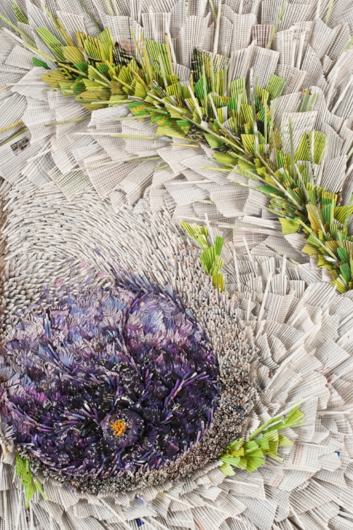 Purple Bloom,  original paper art by Marilyn McRae.
