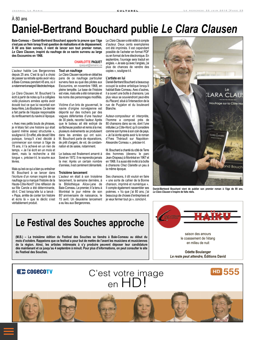 Journal Le Manic, Mercredi 22 Juin, 2016 Page 25
