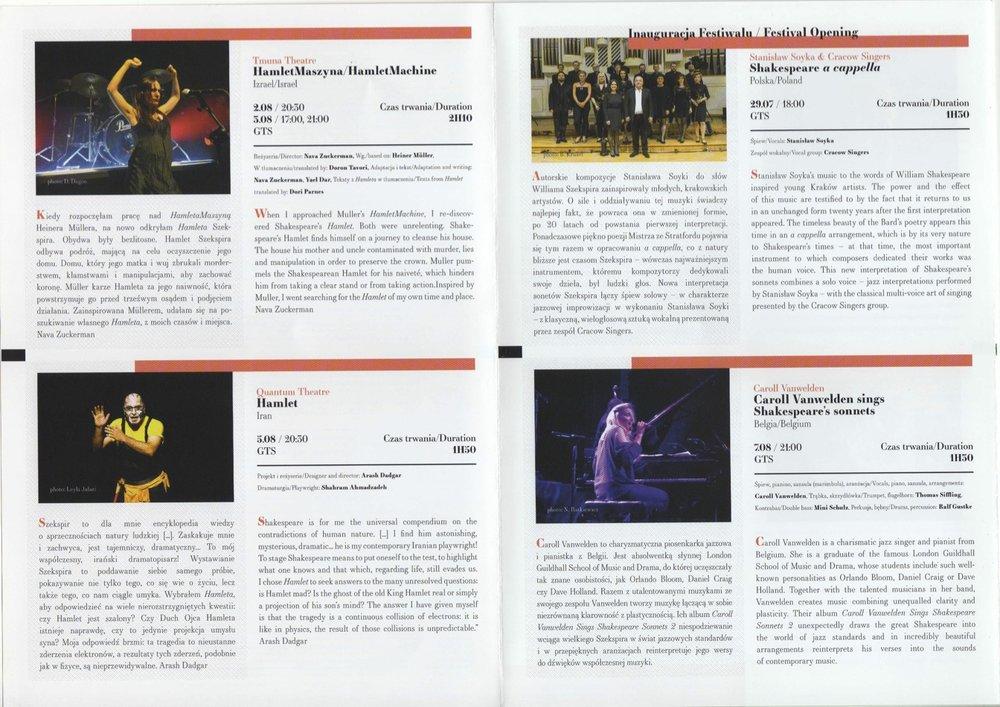 The entry for  Hamlet in the Gdansk Festival Program.
