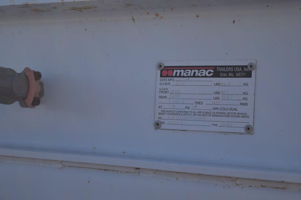 2007 Manac CpS belly dump, 3 axle, A.R. R.O. tarp