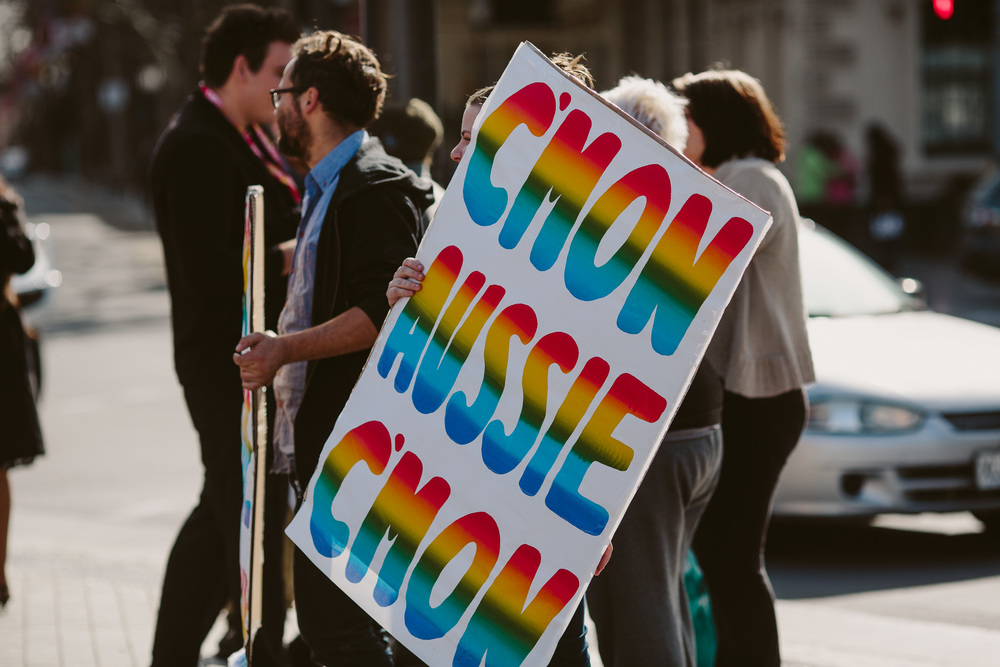 Marriage Equality Rally,  C'Mon Aussie! Poster campaign  by  Peter Drew  and  Jake Holmes , Adelaide, July 2015