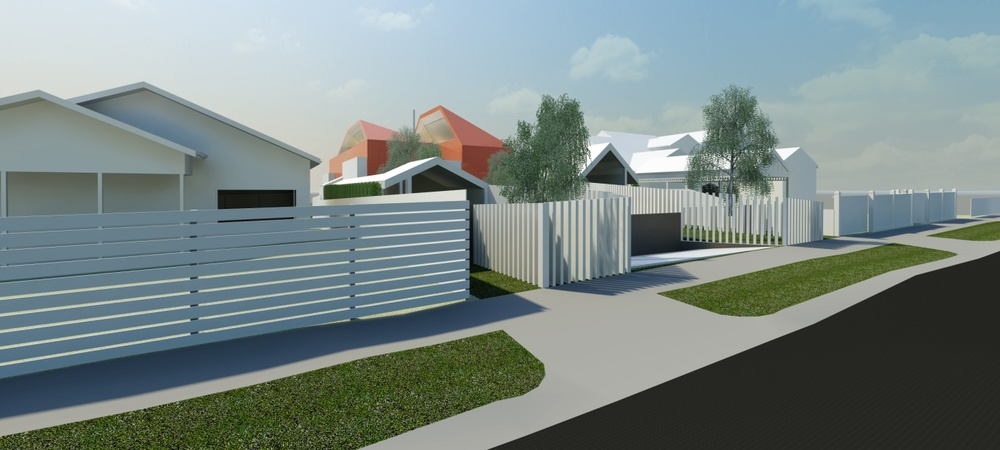 Conceptual massing of side by side townhouses
