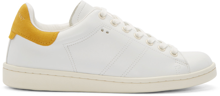 sabel Marant White & Yellow Bart Low-Top Sneaker