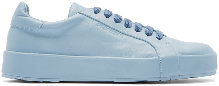 il Sander Blue Leather Low-Top Sneaker
