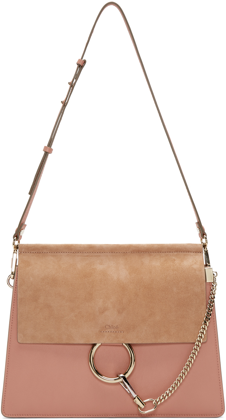 Pink Leather & Suede Medium Faye Bag
