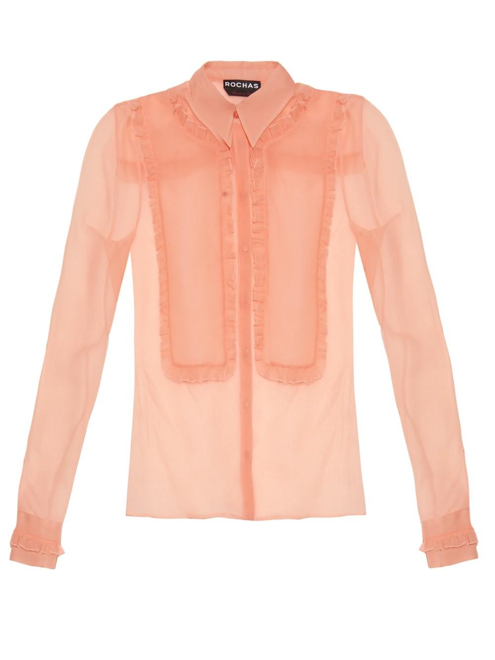 Rochas Silk-Organza Ruffle Trimmed Shirt